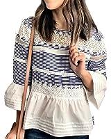 Chicwish Women's Blue Stripe/White Round Neck Crochet Peplum Top