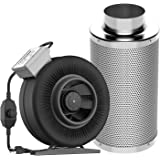 """VIVOSUN 6 Inch 440 CFM Inline Duct Fan with 6"""" x 18"""" Carbon Filter Odor Control with Australia Virgin Charcoal"""
