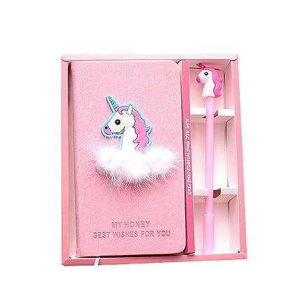 Riancy Unicornio Cuaderno Con Una Pluma De Unicornio Rosa Lisa Mano