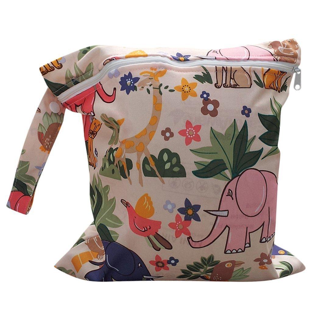 Newin Star Bolsa de Pañales,Bolsa de Pañales con Dibujo Animal con Cremallera para Madre (Impermeable/Reutilizable)