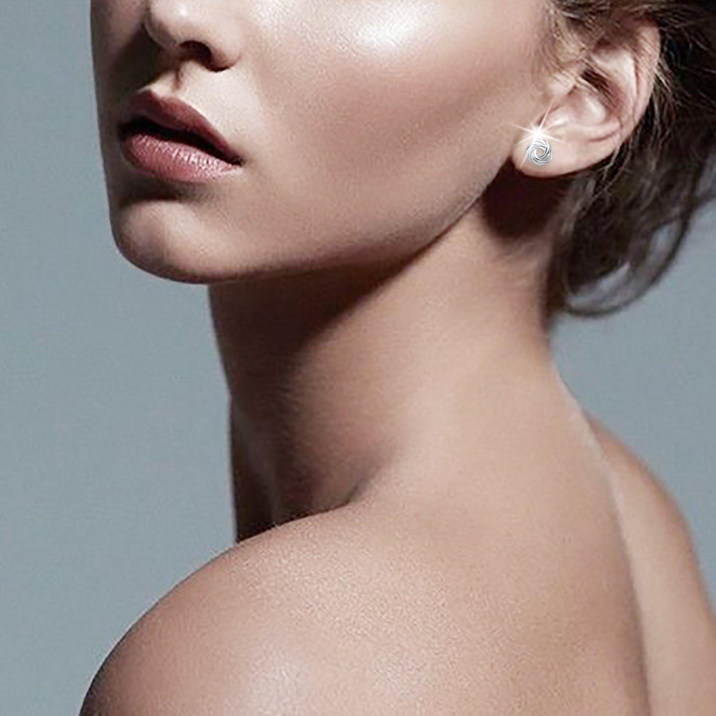 Gifts for Women J.Ros/ée 925 Sterling Silver Simple Style Stud Earrings Fine Jewelry Spiral Galaxy Silver Earrings