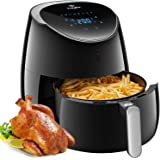 Tidylife Friteuse électrique sans huile XL(AF-1850A), 5L/2000W écran tactile LCD de grande capacité, friteuse à air chaude multifonction 8 en 1, offre livre de recettes, noir
