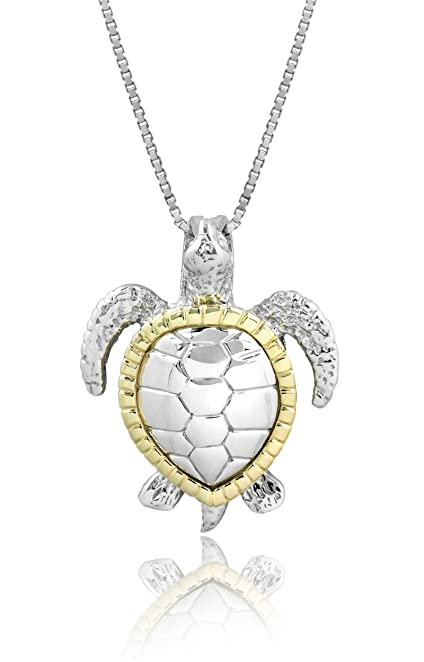 Amazon sterling silver and 14k yellow gold turtle honu necklace sterling silver and 14k yellow gold turtle honu necklace pendant with 18quot aloadofball Images