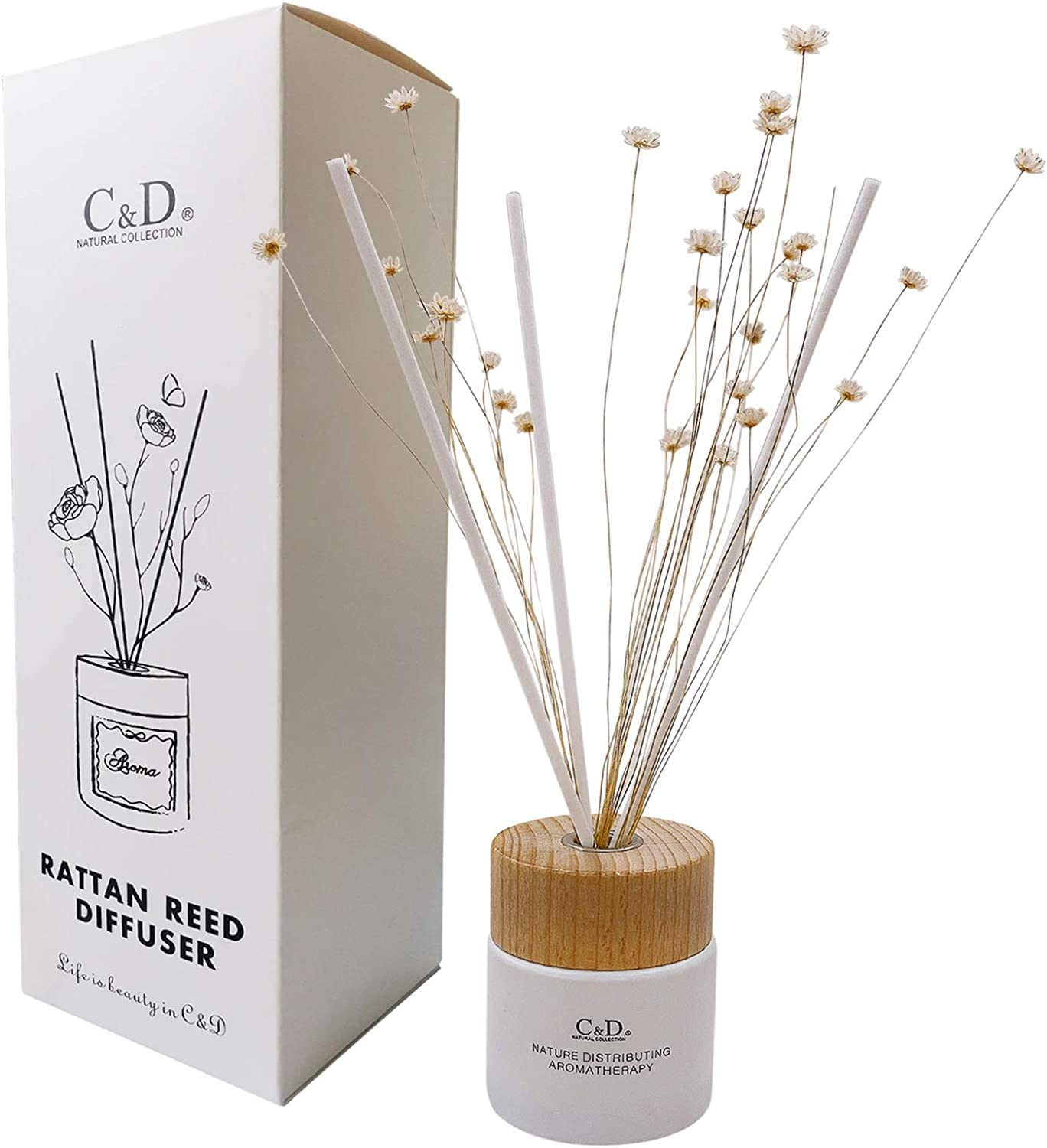 C&D Starflower Reed Diffuser Scented Reed Oil Diffuser with Rattan Sticks for Home Office Fragrance Decor Gift 50ml (English Pear & Freesia)