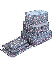 BlueBeach® Ensemble de 6 Organisateurs de Voyage emballant des Cubes Sac de blanchisserie Bagage Sacs de Compression Sac dans Le Sac Organisateur pour des vêtements