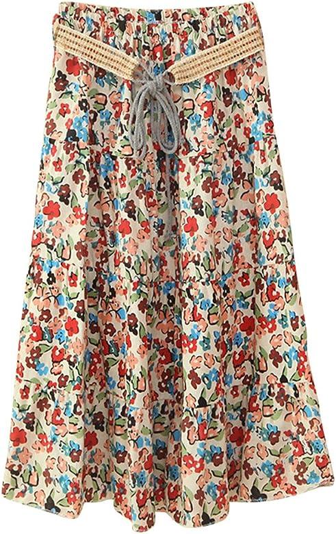 Boho Largo Midi Falda para Mujeres Faldas Estampada Floral ...