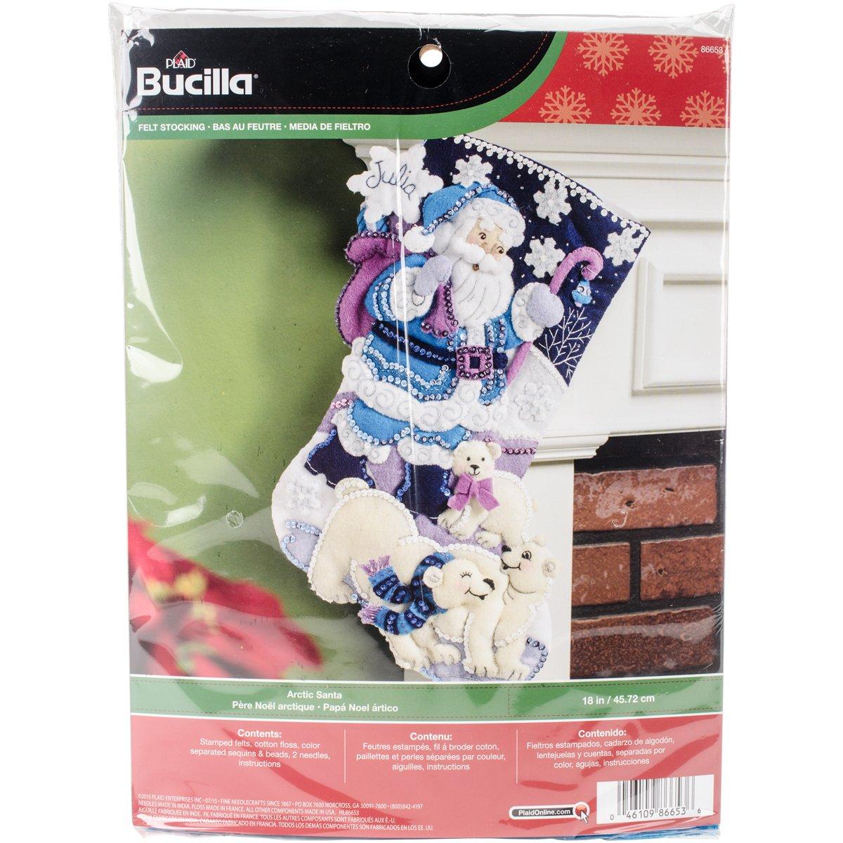 Bucilla 18-Inch Christmas Stocking Felt Applique Kit, 86653 Arctic Santa Plaid Inc dimensions needlecrafts holiday stitchery