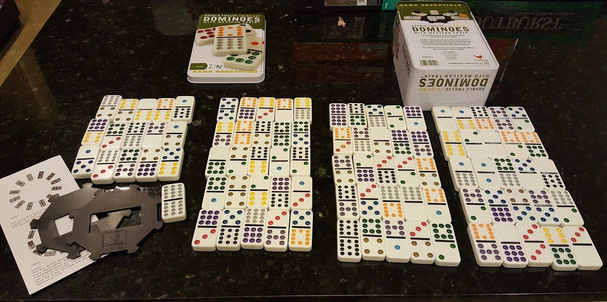 Double Twelve Color Dot DOMINOES with Mexican Train