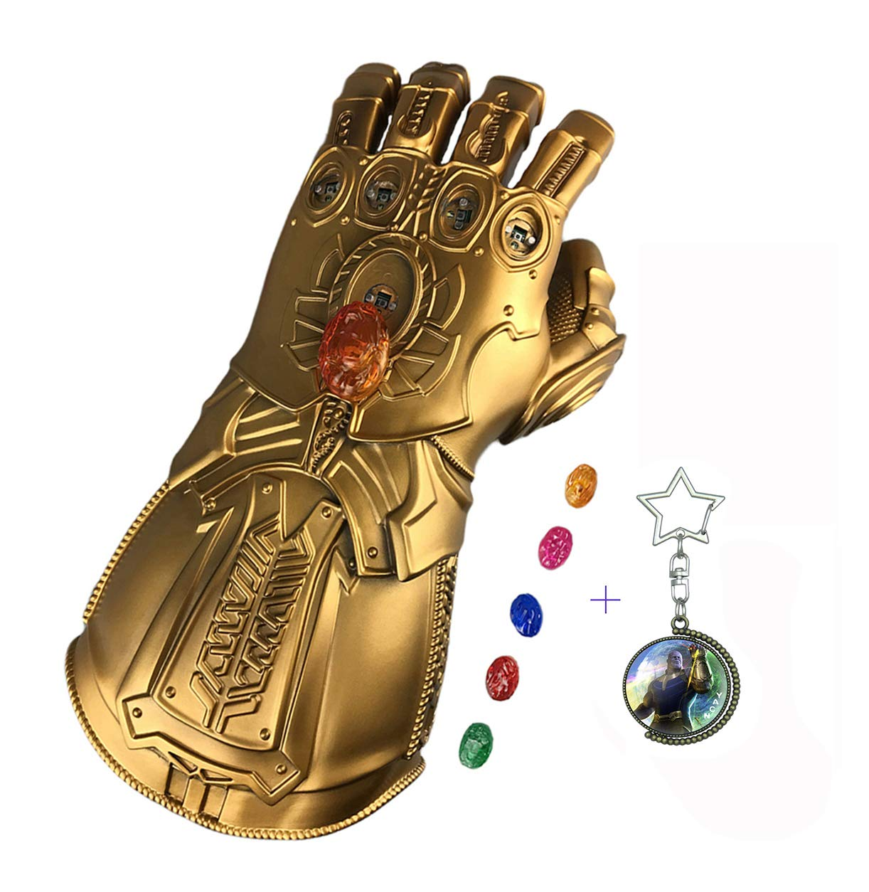 adult Yacn Thanos Infinity Gauntlet Glove with Separable Stones LED Avengers Endgame Gauntlet Toy Light up