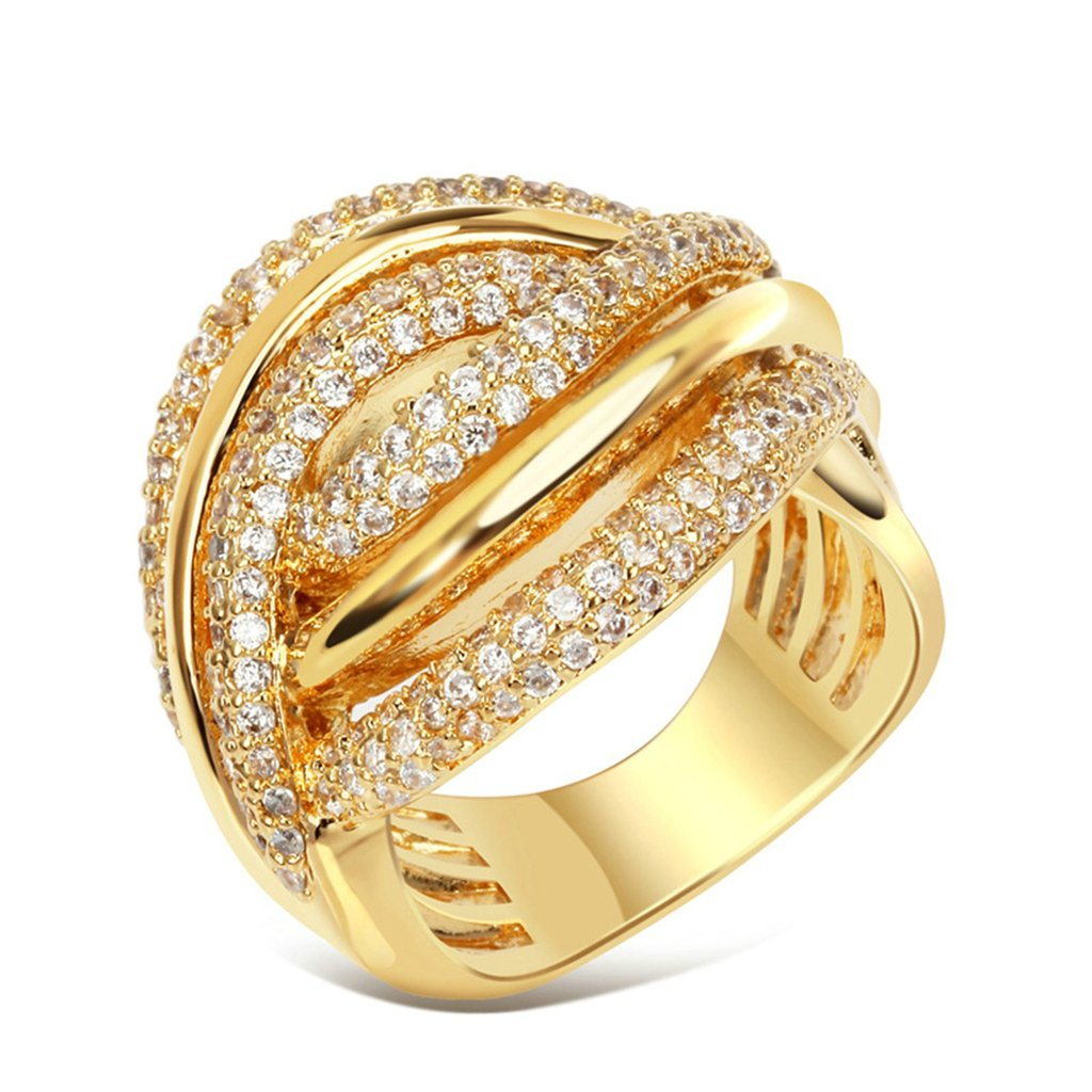Bishilin 18K Gold Plated Clearance Cubic Zirconia Inlay Wedding Bands Unique For Her Size 7