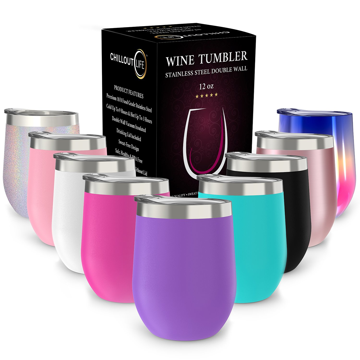 Stainless Steel Stemless Wine Glass Tumbler with Lid, 12 oz | Double Wall Vacuum Insulated Travel Tumbler Cup for Coffee, Wine, Cocktails, Ice Cream | Sweat Free, Unbreakable, BPA Free, Powder Coated CHILLOUT LIFE