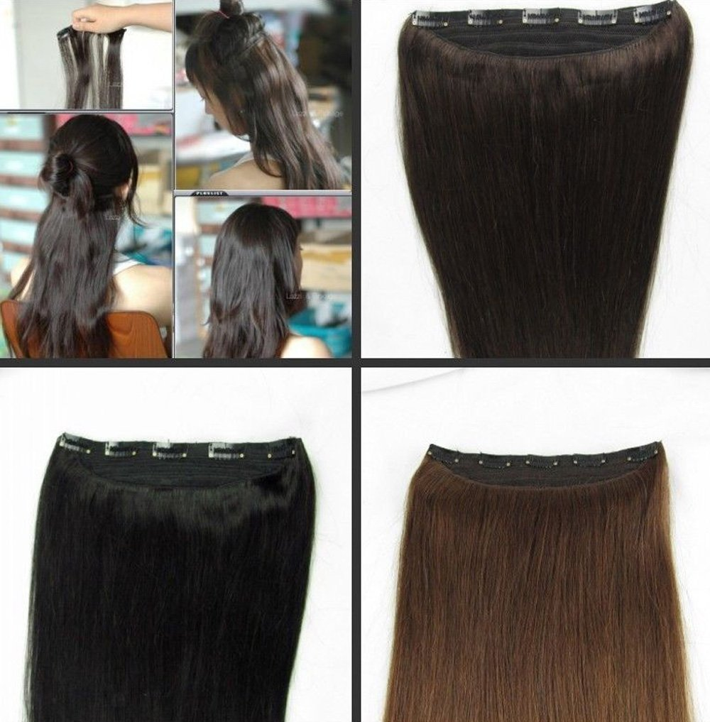 Amazon tanya full head 20 one piece 100g clip in human hair amazon tanya full head 20 one piece 100g clip in human hair extensions 2 dark brown beauty pmusecretfo Images