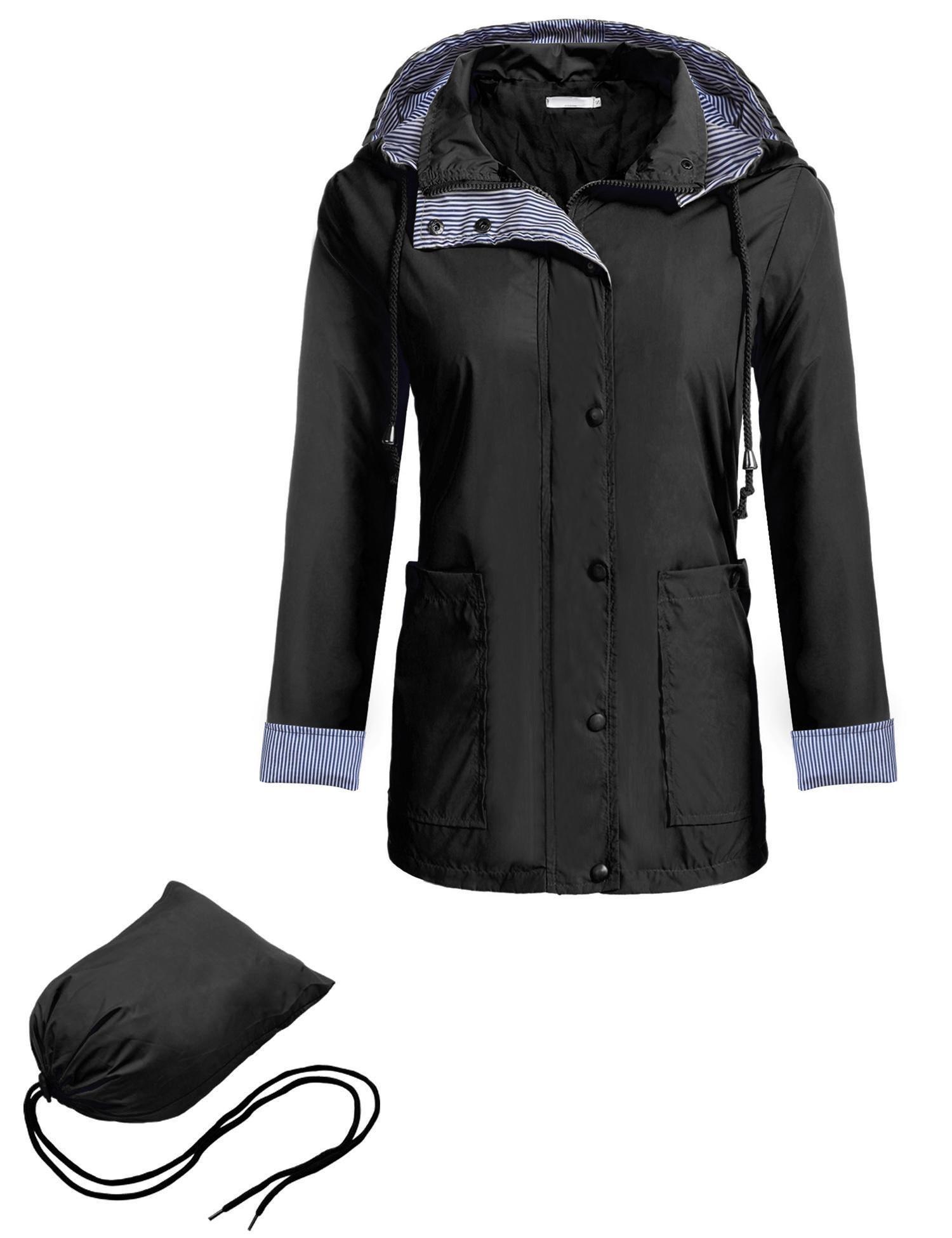 Zeagoo Women's Hooed Rain Coat Single Breasted Waterproof Jacket, Style 1 Black, Small