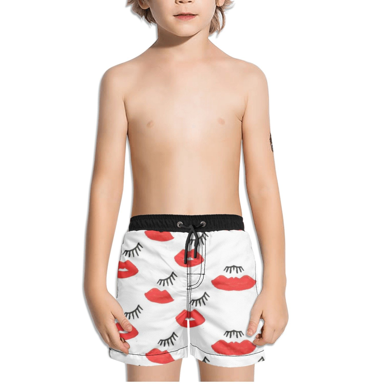 Ouxioaz Boys Swim Trunk Wink Smooch Lip Beach Board Shorts