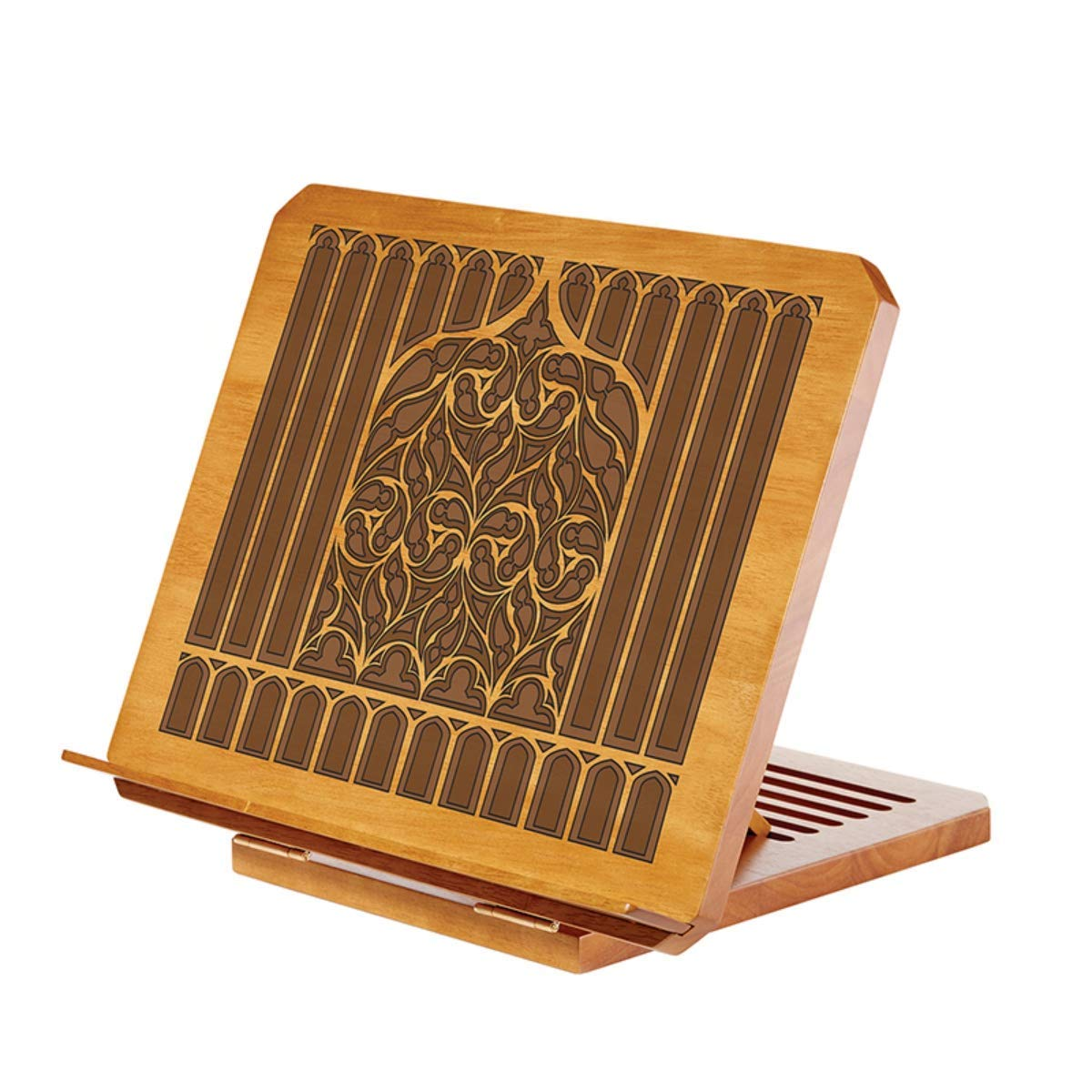 Wood Tree of Life Adjustable Table Top Book Stand, 16 Inch (Walnut) by Bible Holder