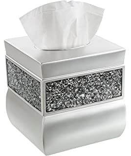 black mosaic bathroom accessories. Creative Scents Square Tissue Box Cover  Decorative Holder is Finished in Beautiful Silver Mosaic Amazon com Bathroom Accessories set 4 Piece