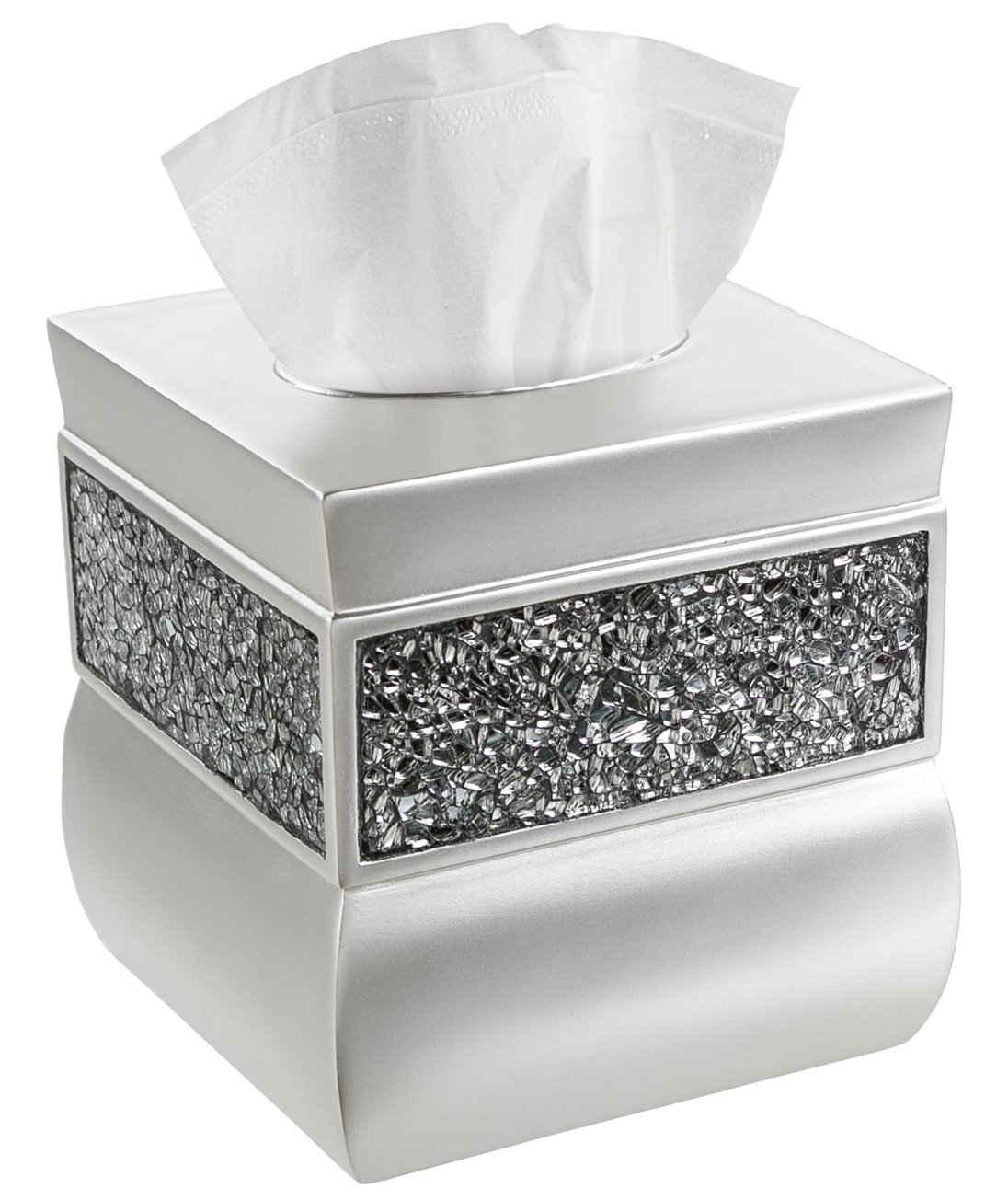 Creative Scents Square Tissue Box Cover - Decorative Tissue Holder is Finished in Beautiful Silver Colored Mosaic Glass, Bathroom Accessories by Creative Scents