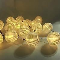 LED Solar Lichterkette Lampions ALED LIGHT IP65 Wasserdicht 20er LED Lampions Laterne Lichterkette Garten Innen und Außenbereich 4.1 M für Party Weihnachten. [Energieklasse A+++] (Warmweiß)
