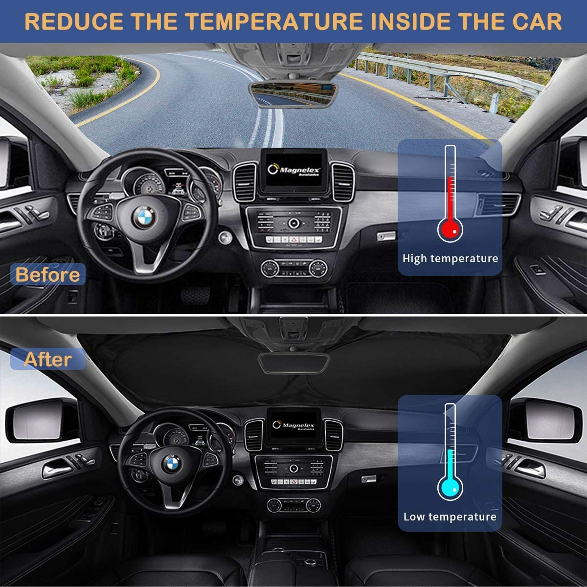 Foldable Sun Shield That Keeps Your Vehicle Cool Windshield Sun Shade for SUVs 210T Reflective Polyester Blocks Heat and Sun Trucks and Vans Large 63x33.8 in
