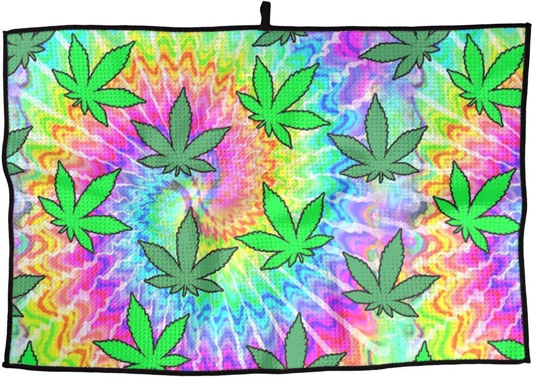 GXLLLW Elegante Microfibra Deportiva Toalla de Golf Tie Dye Rainbow Weed Marihuana Cannabis Ideal Toalla de Secado rápido - para Viajes, Golf, Entrenamiento, natación, Gimnasio, Yoga, Camping