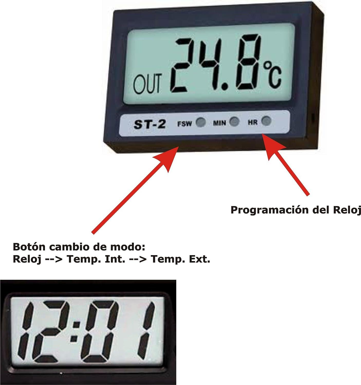 RELOJ PARA MOTO DIGITAL TERMÓMETRO ST-2 VENTANA - ACUARIO - NEVERA CON 2 TERMÓMETROS INTERIOR Y EXTERIOR- CLOCK THERMOMETER IN / OUT OUTDOOR COCINA BICI ...
