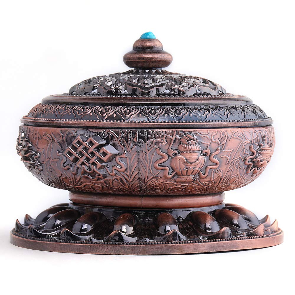 Incense Holder Nepal Incense Burner Alloy Suitable for Yoga/Meditation Room or Home Decor (Red)