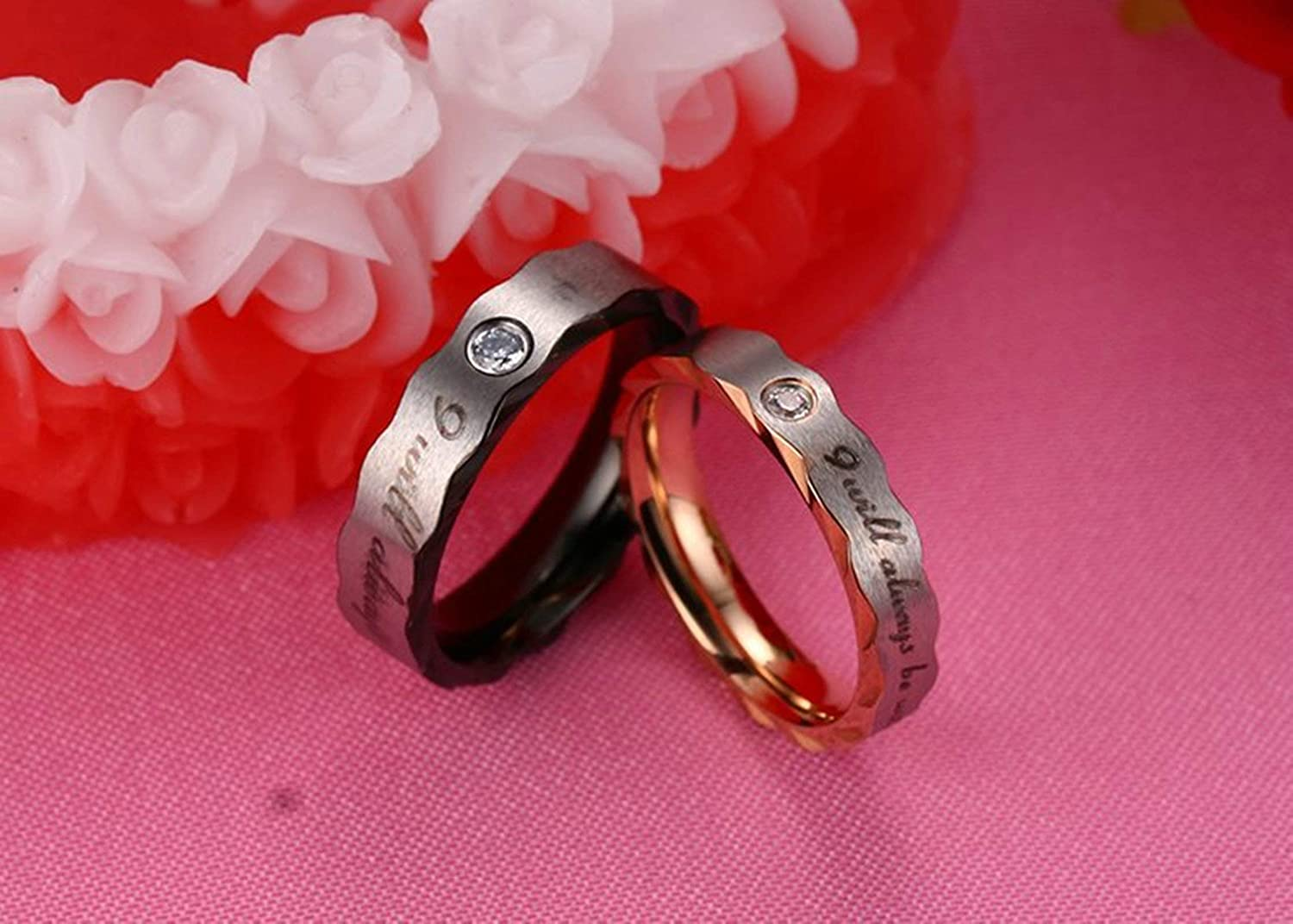 AMDXD Jewelry Couple Ring Men I Will Always be with You Cubic Zirconia Black Couple Rings Stainless Steel 5 MM,Single Sale