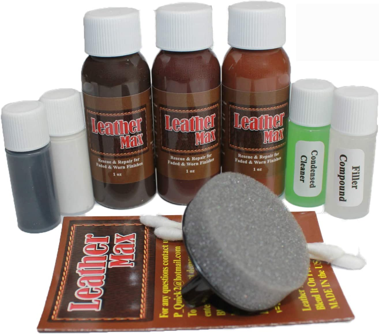Leather Max Complete Leather Refinish, Restore, Recolor & Repair Kit/Now with 3 Color Shades to Blend with/Leather & Vinyl Refinish (Bold Brown)