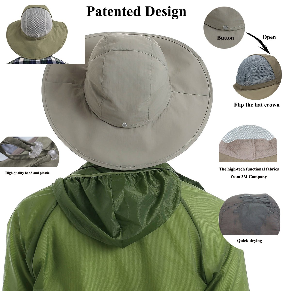 e6412b766b07d Surblue Crushable Ventilated Bucket Wide Brim Sombriolet Sun Hat Safari Hat  -Sun Protective UPF 50+  Amazon.co.uk  Sports   Outdoors