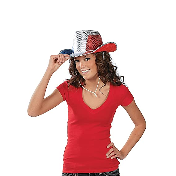 Fun Express FX IN-15 432-1 Patriotic Sequin Cowboy Hat  Amazon.co.uk   Kitchen   Home 8fa3f46e1bf5