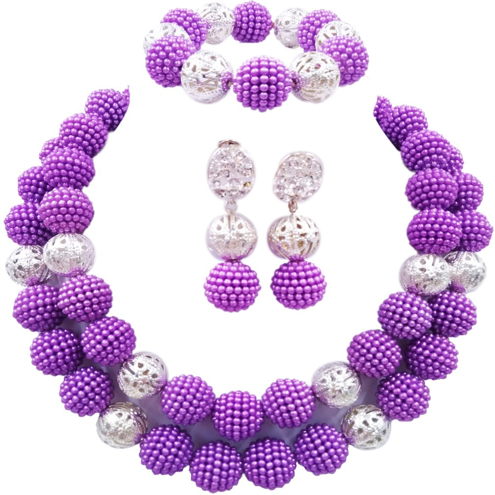 laanc 2 Rows Multicolor Beads Plastic Imitation pearl and Silver Plated Ball African Wedding Jewelry Sets (Purple)
