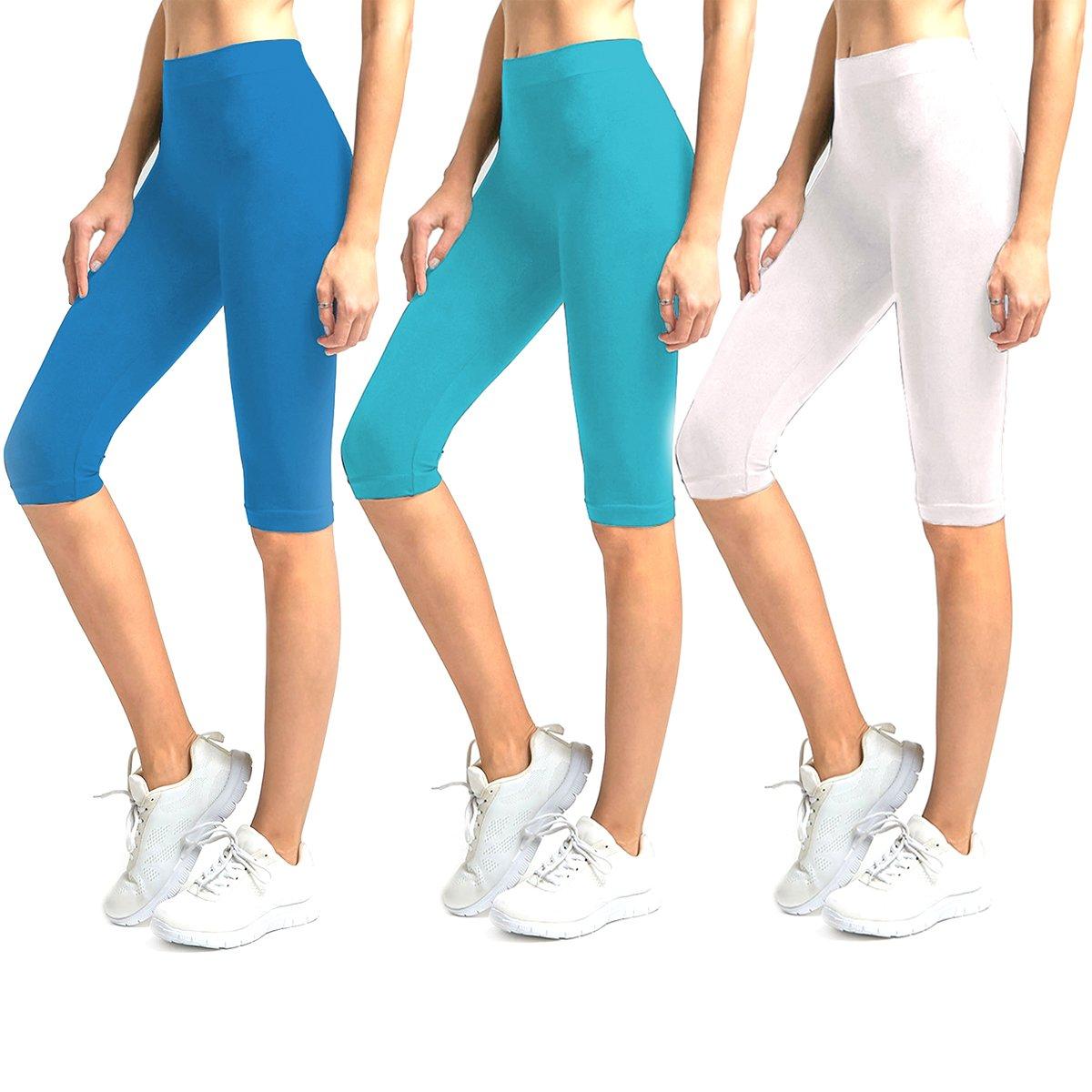 Glass House Apparel 3-Pack Solid Knee Length Spandex Yoga Leggings (Royal Blue, Aqua, White)