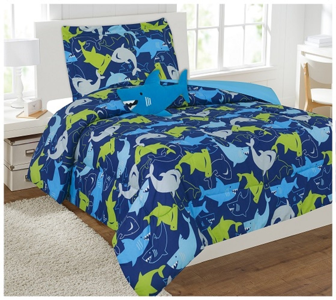 Elegant Home Sharks Design Multicolor Blue Green Fun 6 Piece Comforter Bedding Set for Boys / Kids Bed In a Bag With Sheet Set & Decorative TOY Pillow # Shark (Twin)