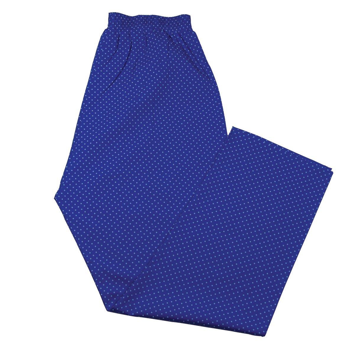 Men's Chelsea Blue Spot Pajamas Set, Fine Brushed Cotton Top & Trousers, Royal Blue Medium by Bown of London (Image #2)