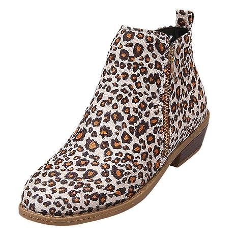 LILICAT® Botines Cortos para Mujer Botines con Cremallera de Ante con Estampado de Leopardo Cabeza