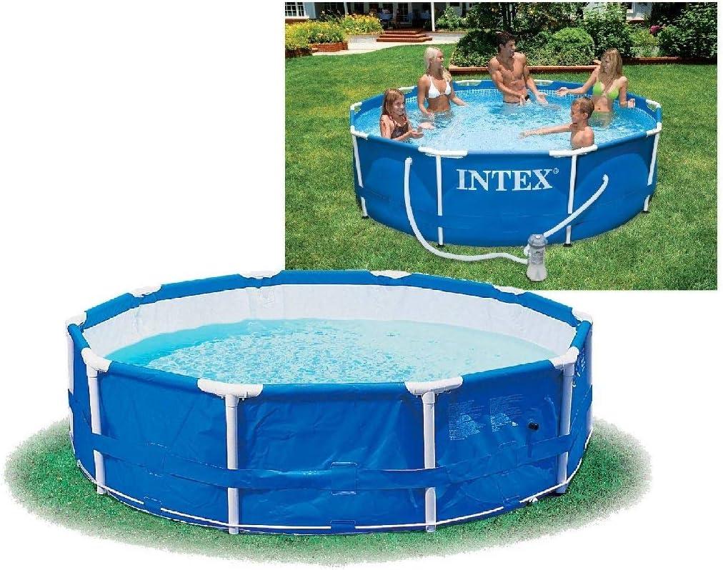 Intex 56996GS - La piscina de tierra piscina acero ajustado rondo, tuv / gs, azul, ø 366 x 76 cm: Amazon.es: Jardín