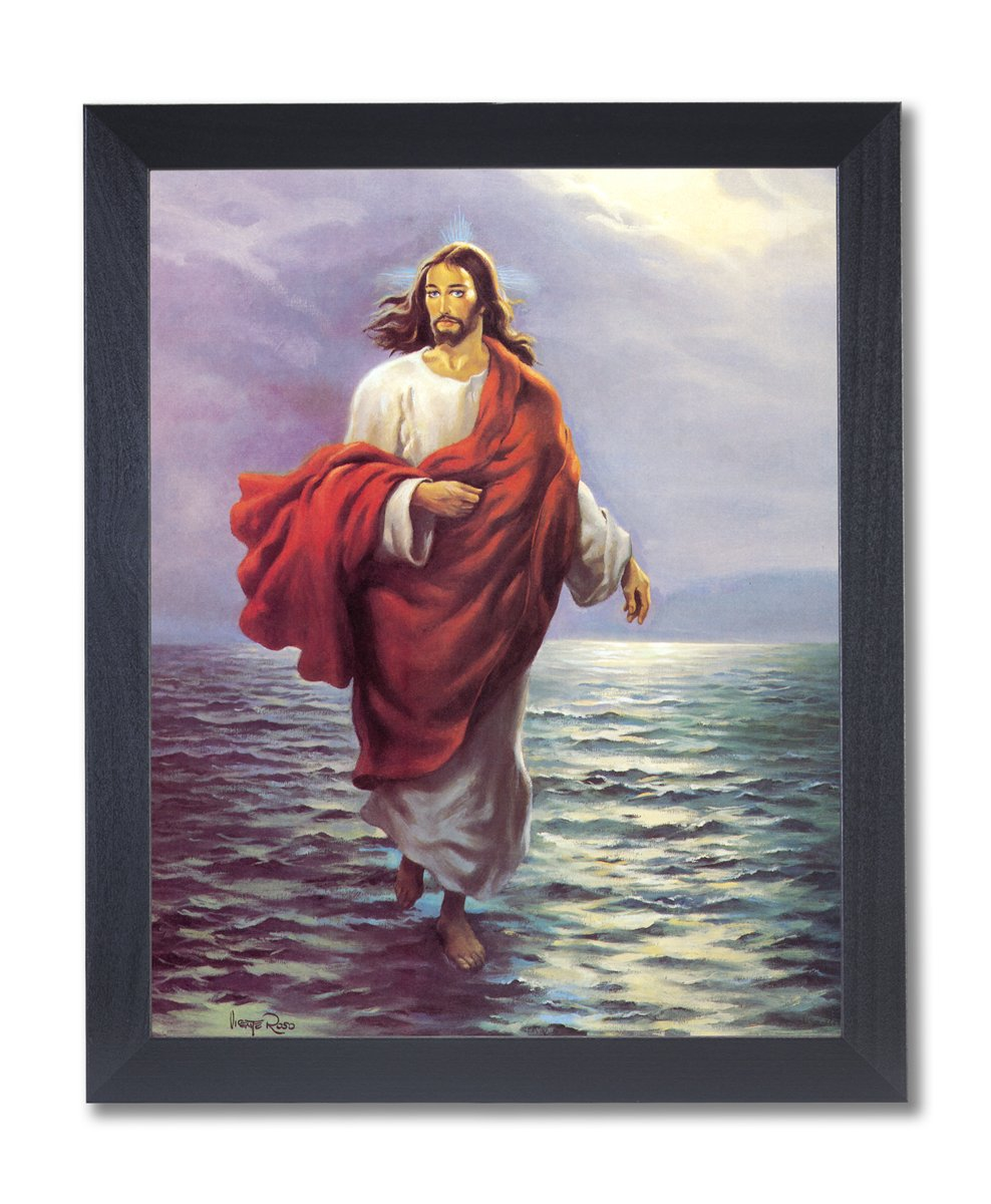 Amazon.de: Jesus Christ Walking on Water Religiöse Bild schwarz ...