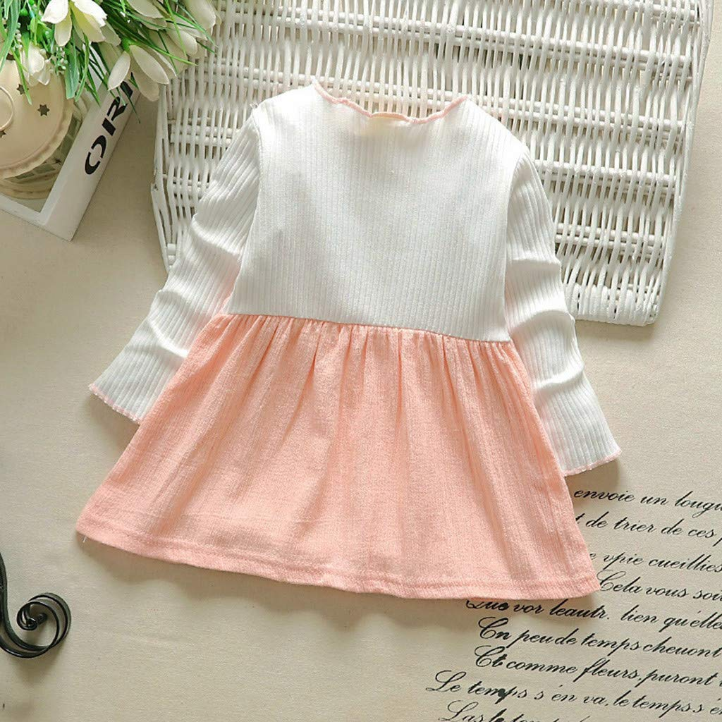 TM Infant Baby Girls Striped Patchwork Bow Long Sleeve Princess Casual Holiday Beach Dress for 0-24 Months Jchen