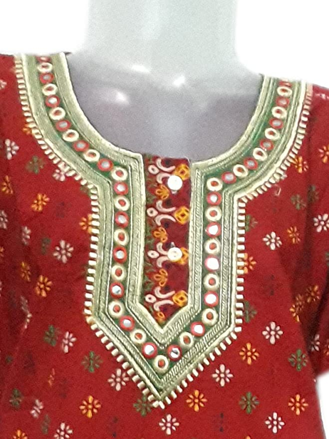 Red Color Cotton Nighty Embroidery And Mirror Work In Front And On
