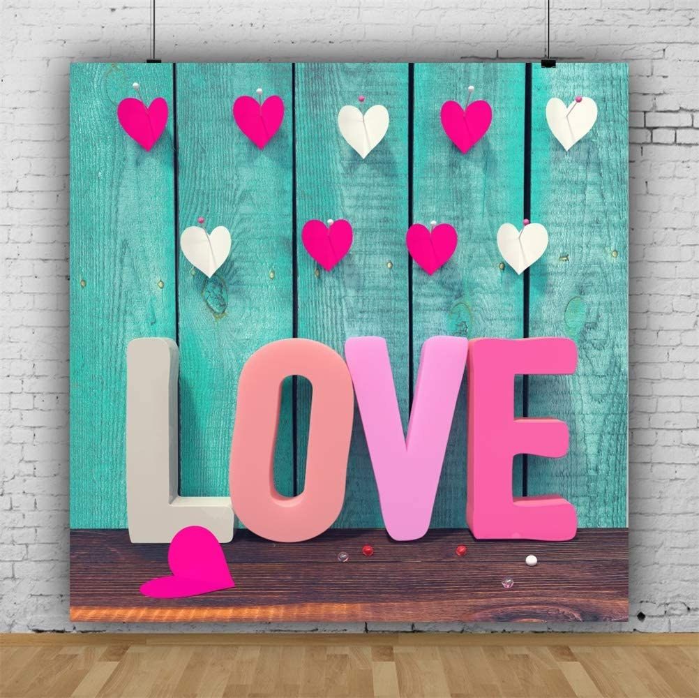 7x10 FT Quote Vinyl Photography Backdrop,Love Reduces All to One Common Level Saying with a Romantic Pink Heart Background for Baby Birthday Party Wedding Graduation Home Decoration