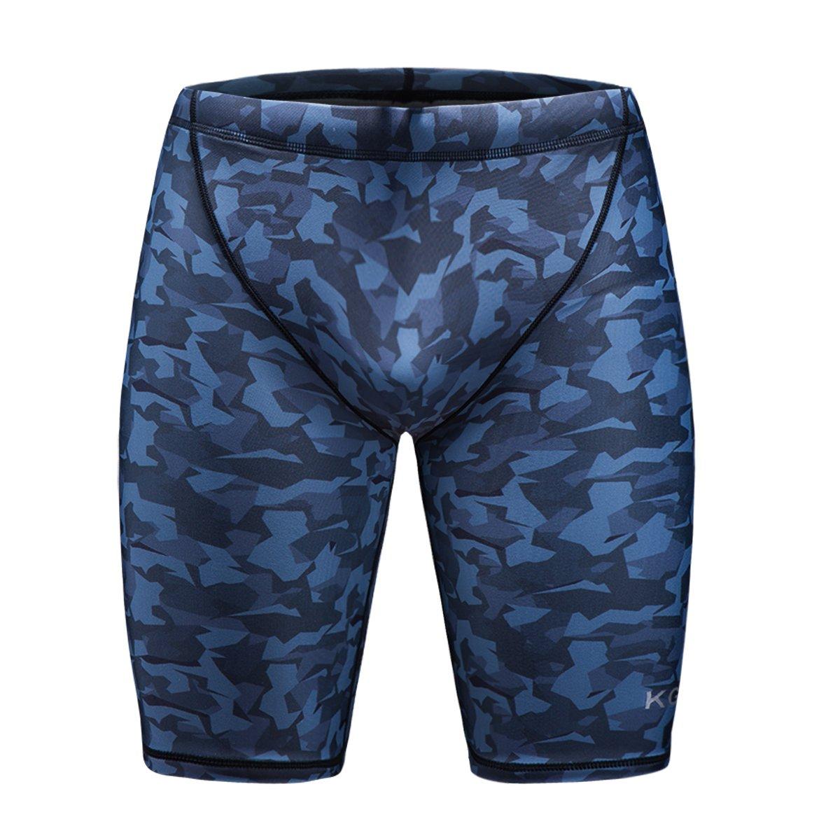 35989009e2 KGKE Men's Swim Jammers Compression Fashion Print Jammer Swimsuit Swim  Boxer Long product image