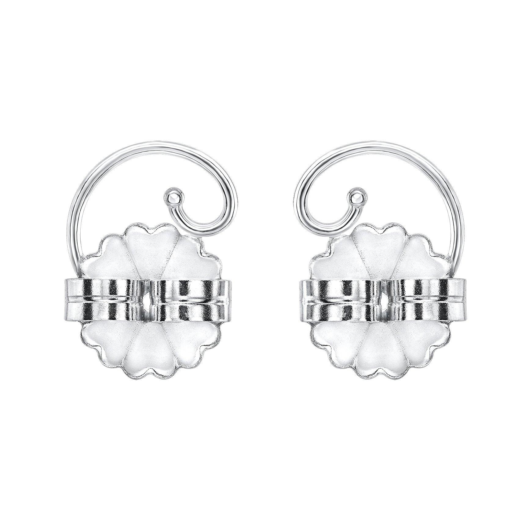 Levears 14K White Gold Pierced Ear Lobe Earring backs Lifts Support Post / Stud