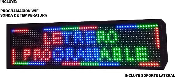Opinión sobre Cartel LED programable USB + WiFi con Sensor de Temperatura y Reloj 64x16 cm para Exterior / Rótulo Luminoso / Pantalla electrónica / Alta luminosidad / Display LED (Doble Cara RGB)