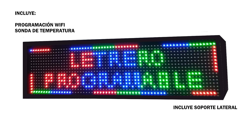 Cartel LED programable USB + WiFi con Sensor de Temperatura y Reloj 64x16 cm para Exterior / Rótulo Luminoso / Pantalla electrónica / Alta luminosidad ...