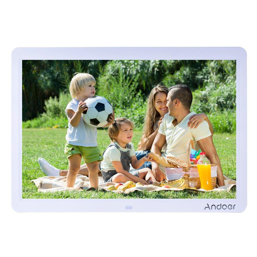 Andoer HD LED Digital Photo Picture Frame 15 inch Wide Screen High Resolution 1280 x 800 with Remote Control and CR2025 ontroller Battery by Andoer