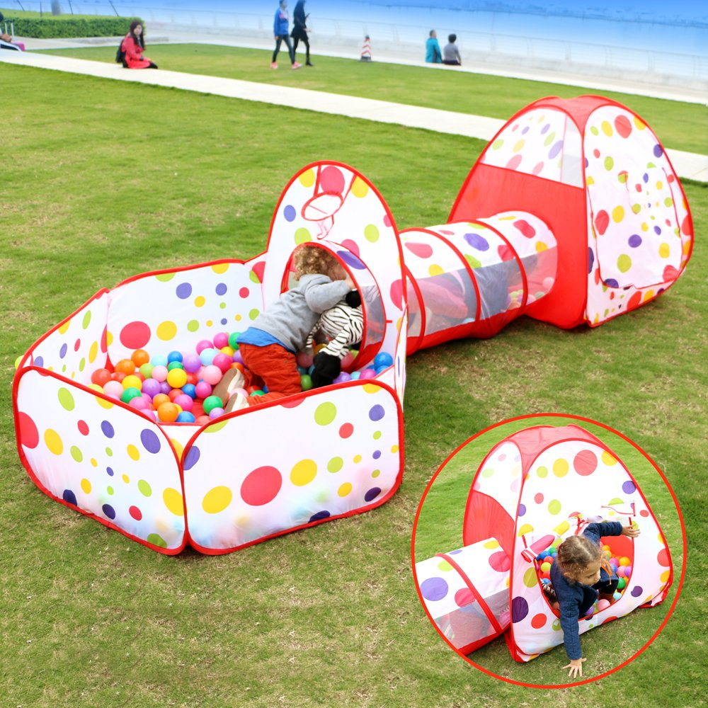 EocuSun Polka Dot 3-in-1 Folding Kids Play Tent with Tunnel Ball Pit and Zippered Storage Bag