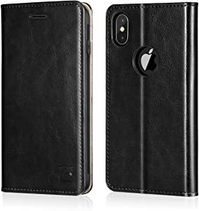 Belemay iPhone Xs Max Wallet Case, Genuine Leather Case Slim Fit Folio Book Flip Cover [Durable Soft Inner Case] Card Holder Slots, Kickstand, Cash Pockets Compatible iPhone Xs Max (6.5-inch), Black