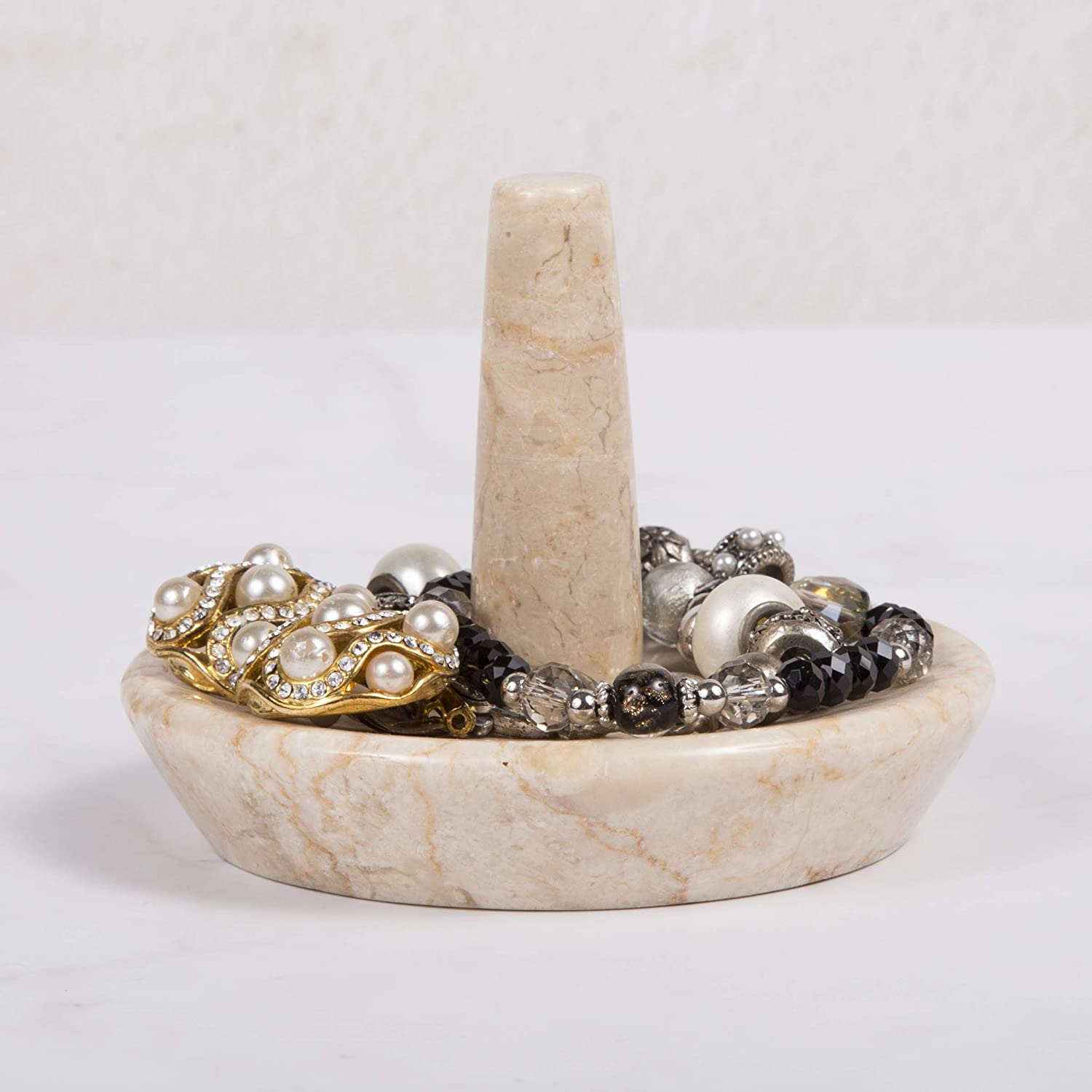 4 Diam Creative Home Champagne Marble Ring Holder Jewelry Tray x 3-1//8 H