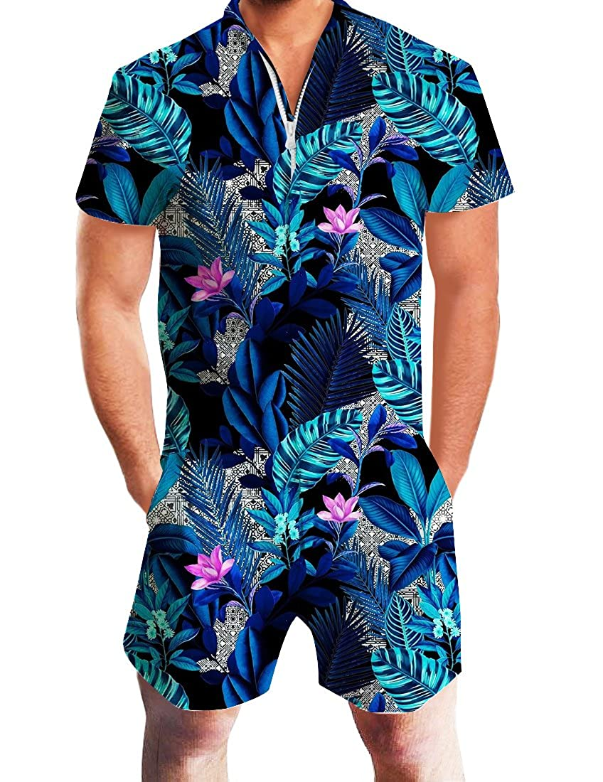 ace97a2def Adicreat Men Summer Shorts 3D Printed Short Sleeve Jumpsuit One Piece Romper  Outfits