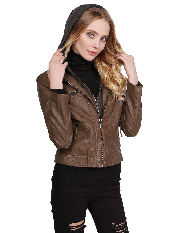 Faux Leather Rider Jacket with Detachable Hood Khaki XL Size